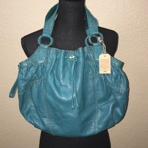 NWT Turquoise Leather Lucky Brand Shoulder Bag
